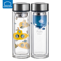 乐扣乐扣双层玻璃水杯加厚家用便携耐热防烫瓶子可爱带盖随手杯
