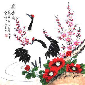 北京市美术家协会会员,北京市著名工笔画画家凌雪(鹤寿图)2