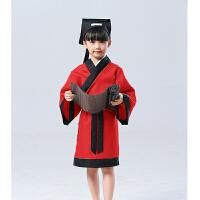 弟子规演出服儿童古装汉服男女童孔子国学服装开笔礼三字经表演服 红色 升级款