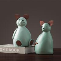 北欧家居装饰品儿童房摆件树脂小熊存钱罐创意电视柜桌面装饰摆件