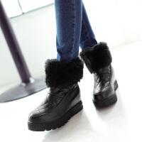彼艾2017秋冬新款高跟短筒靴舒适女式毛毛靴内增高厚底女靴子短靴女鞋子