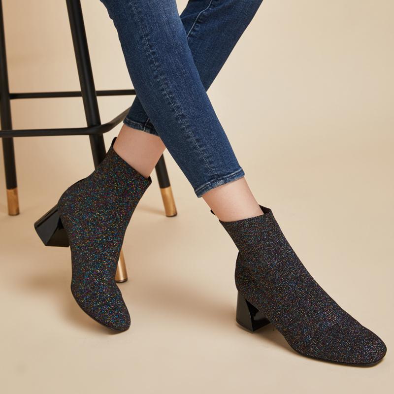 【网易严选双11狂欢】金丝布女士金属跟短靴 5.5cm金属粗跟,透气舒适