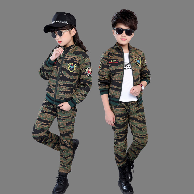 儿童迷彩服套装冬季2018新款男孩女孩休闲两件套