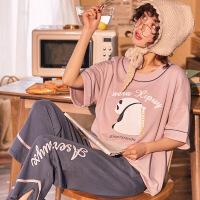 夏季纯棉睡衣女士短袖长裤韩版可爱学生可外穿薄款家居服两件套装