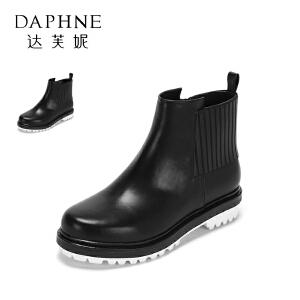 Daphne/达芙妮秋冬款短靴女简约拼接圆头低跟皱缩PU短靴女
