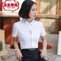 2019春季新款女短袖衬衫韩版纯色气质通勤职业工作服修身衬衣批发