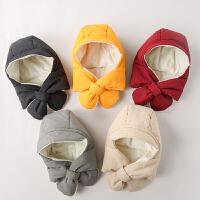 儿童帽子围巾一体婴儿帽子秋冬季连帽围脖男童女童护耳帽潮