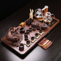 茶具套装玻璃家用全自动玻璃烧水壶茶盘套装青花茶具茶道紫砂套装 18件