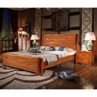 现代中式实木床南康家具橡胶木双人床1.5米/1.8米实木床 1.8*2.0米 实木床+2柜+床垫
