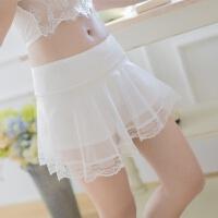 外穿打底裤薄款夏季网纱蕾丝边三分保险短裤女黑白色防安全裤 白色 Q01(85-130斤内穿)