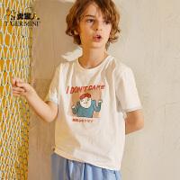 【3折价:32.7】小虎宝儿儿童白色t恤男童纯棉短袖2019新款童装夏中大童宽松洋气上衣