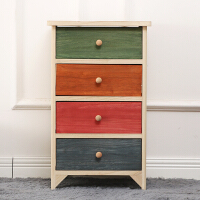 彩色床头柜三斗柜 环保无油漆四斗柜 田园实木制抽屉柜美式储物柜