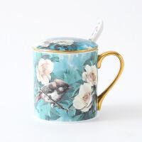 【特惠购】杜鹃鸟描金骨瓷马克杯大容量陶瓷早餐杯办公室水杯创意咖啡杯带勺