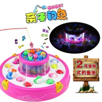 六一儿童节礼物钓鱼玩具电动旋转双层音乐宝宝磁性钓鱼玩具亲子互动游戏儿童钓鱼玩具套装1-2-3岁