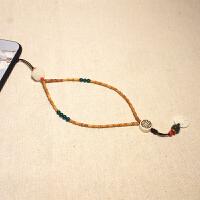 创意橄榄核竹节菩提手机挂链挂绳挂脖女长款项链复古风文艺可拆卸