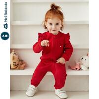 【限时1件5折】迷你巴拉巴拉婴儿连体衣女宝宝连体外出衣服2019秋装新款印花爬服