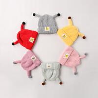 宝宝帽子秋冬季毛线帽男童女童针织保暖帽0-3岁婴儿可爱套头帽秋