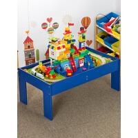 托马斯木质小火车轨道�犯叽罂帕F床迤醋盎�木桌儿童男孩玩具定制