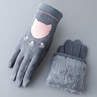 韩版卡通女士秋冬季骑车手套触摸屏麂皮绒加绒保暖甜美可爱学生