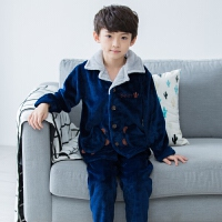 儿童睡衣秋冬男珊瑚绒法兰绒套装男孩子冬季中大童家居服男童