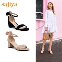 Safiya/索菲娅2019春夏新款时尚一字式扣带粗跟凉鞋女SF92115061