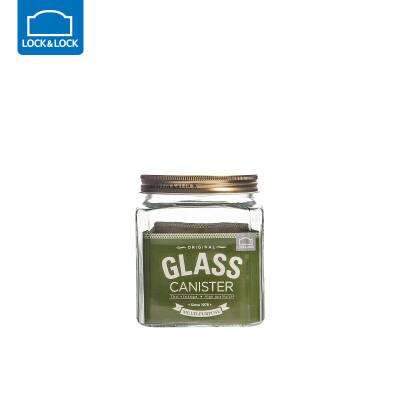乐扣乐扣杂粮储物罐大号玻璃密封罐收纳罐子玻璃瓶子带盖厨房家用方形1.2L 玻璃材质 收纳整理 多彩厨房
