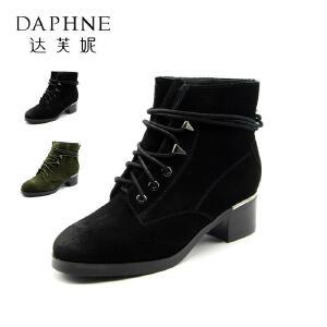 Daphne/达芙妮冬款方跟绒面个性系带时尚率性休闲女靴