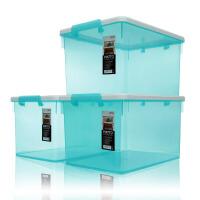 塑料收纳箱整理箱大号环保储物箱超值3个装 高透烟熏灰45L 6270 正派系