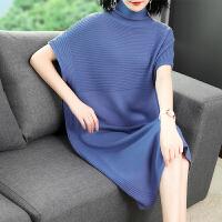 2018新款时尚女装短袖高领中长款宽松A字过膝纯色针织连衣裙