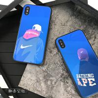 苹果x手机壳男7欧美新款8plus个性男款6sp蓝光玻璃壳 苹果6/6s SUP背影