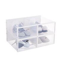 加厚透明鞋盒抽屉式自由组合男女鞋子收纳盒防尘塑料整理箱简易 33.5x23.5x13.5cm