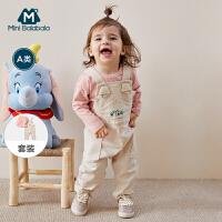 【2件4折】迷你巴拉巴拉长袖套装婴儿男女宝宝2020春季T恤工装背带裤2件套