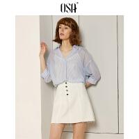 【3件6.5折】OSA欧莎2019夏装新款女装 简约A字显瘦高腰短裙牛仔半裙
