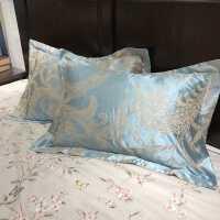 全棉贡缎提花枕套欧式枕芯套单人乳胶枕头套婚庆一对2只高支高密