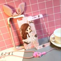 可爱女孩iPhone8全屏钢化膜7plus苹果六s卡通日韩6保护膜手机彩膜 6/6s4.7寸粉花女孩+兔耳朵边框