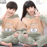 儿童法兰绒睡衣厚款珊瑚绒长袖秋冬季绒男女大童宝宝家居服套装
