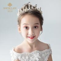 儿童皇冠头饰公主王冠水晶发箍金色女孩生日发饰