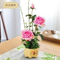 家用玫瑰花仿真花摆件套装假花绢花插花家居室内客厅餐桌装饰花卉摆设SN1076