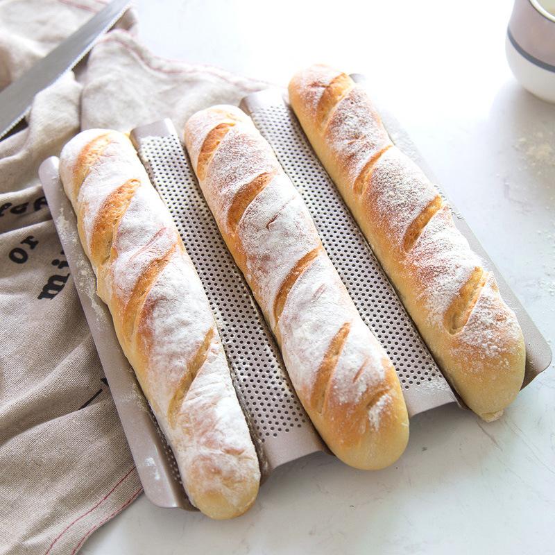 法棍模具3槽长法式面包不粘波浪吐司烘焙烤盘烤箱用家用小号