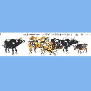 笔名金石,中国书画艺术研究院院长,国家一级美术师,中央国家机关美术家协会理事石金(五福图)