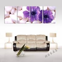 紫色花卉四联装饰画客厅现代沙发背景墙无框画卧室水晶挂画墙壁画 如图色