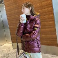 韩国ins亮面外套女连帽2019冬装时尚宽松棉衣棉袄潮 M 建议90-105斤