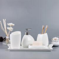 简约陶瓷卫浴四件套日式洗漱五件套浴室用品套装件牙刷杯漱口杯