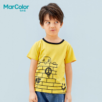 【119元4件】巴拉巴拉旗下MarColor马卡乐219夏新品男童萌趣印花撞色短袖T恤