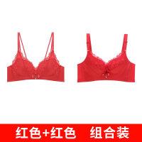 本命年女内衣红色交叉美背女新娘无钢圈细带聚拢中国红文胸套装 .
