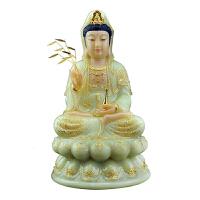 观音佛像翠玉镶金居家供佛摆件释迦牟尼佛地藏王菩萨婆娑三圣供奉