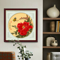 十字绣牡丹花开富贵小幅中国风2018线绣新款客厅卧室挂画简单绣