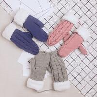 毛线手套女冬季保暖可爱学生韩版骑行加毛绒加厚软妹防寒情侣日系