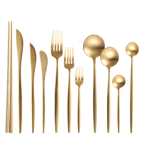 金色牛排刀叉盘子两三件套家用勺子筷子304不锈钢网红西餐餐具