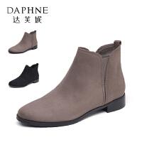 Daphne/达芙妮秋冬款舒适粗跟短靴女简约圆头通勤女靴